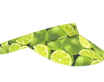 The Limelight - Bright Green SUN Visor - Ladies Womens Limes Cotton Print Golf Tennis Sports Fun Fruit Fashion Party Hat by Calico Caps®