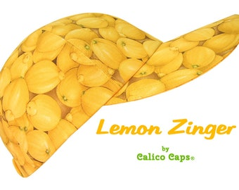 Lemon Zinger - SIZE SMALL - Bright Yellow Lemons Baseball Ball Cap - Ladies Girls Fun Citrus Fruit Summer Party Fashion Hat by Calico Caps®