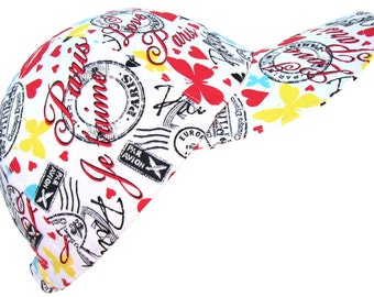 I Love Paris - Ladies White Baseball Ball Cap Fun Spring Summer Travel Hat by Calico Caps® red hearts butterflies fleur de lis postage stamp