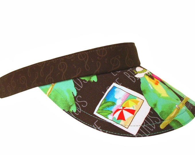 Featured listing image: Love Birds - Jade Green Black Ladies Womens SUN Visor Photographer Parrots wearing hats sunglasses Tropical Theme Lovebirds by Calico Caps®