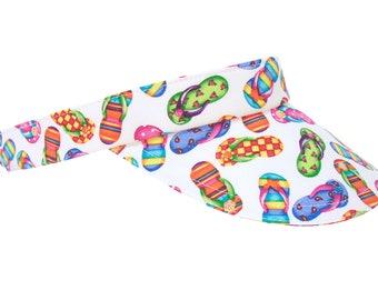 Where's The Beach? - Ladies Womens Girls SUN Visor - Bright Multi Colored Flip Flops on White Fun Cute Summer Fashion Hat by Calico Caps®