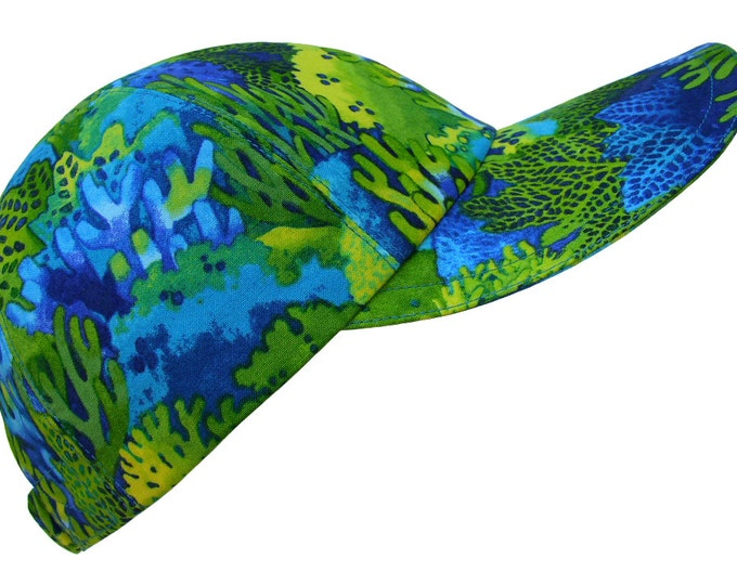 Featured listing image: Sea Life - Ladies Tropical Print Baseball Ball Cap Aquamarine Blue Bright Emerald & Lime Green Yellow Ocean Sea Coral Hat by Calico Caps®