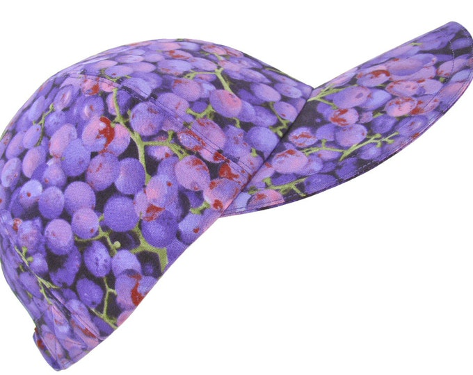 Featured listing image: The Grape Escape - Purple Ultra Violet Fruit Baseball Ball Cap Spring Summer Sports Fashion Ladies Womens Adult Hat by Calico Caps®
