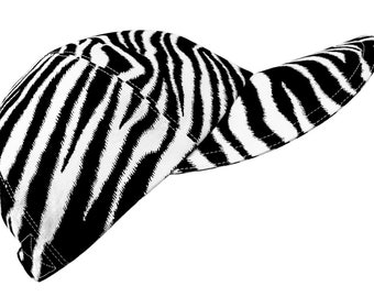 Seeing Stripes - Size LARGE - Black & White Zebra Print Baseball Ball Cap Peau de Zebre cool cotton animal skin fabric Hat by Calico Caps®