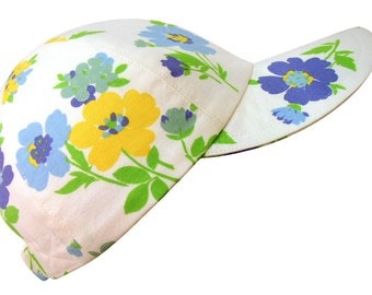 Spring Sorbet - Ladies Floral Print Baseball Ball Cap Big Blue Yellow Flower Bouquets Bright Green Leaves White Fashion Hat by Calico Caps®