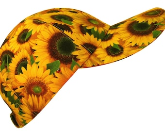 Shine On - OSFMost - Ladies Floral Fashion Baseball Ball Cap Bright Marigold Yellow Sunflowers Red Ladybugs Summer Fall Hat by Calico Caps®