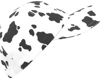 D.C. Spots - LARGE - Black Dalmatian and or Cow Spots on White - Allover B&W Skin Print Baseball Ball Cap Sports Fashion Hat by Calico Caps®