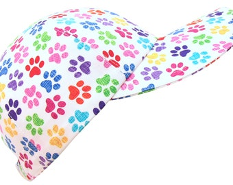 Pawcasso - OSFMost - Ladies Adult Baseball Ball Cap Bright Colorful Dog Cat Animal Paw Print Rainbow on White - Cute Hat by Calico Caps®