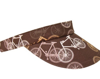 Bike Toss - Ladies Mens Mountain Bike Sun VISOR Black Gold Tan Grey White Mauve Bicycles Print Sports Cyclist Hat by Calico Caps® SM or LG