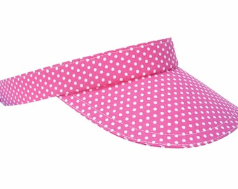 Hot Dots - Ladies Womens Girls Sun VISOR - Hot Pink & White Polka Dot Cute Pretty Spring Summer Fun Tennis Golf Fashion Hat by Calico Caps®