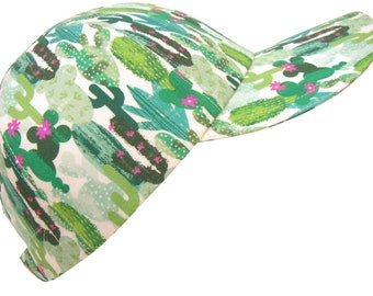 Oasis - Green Cactus Pink Flowers Baseball Ball Cap Ladies Women Mens Southwestern Desert Theme Print  Fashion Sports Hat by Calico Caps®