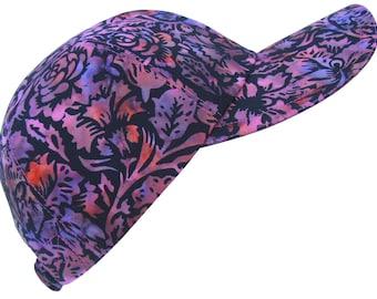 Oh Boysenberry!  Purple Pink Black Batik Floral Print Baseball Ball Cap Roses Hibiscus Lotus Tropical Flower Vine Leaves Hat by Calico Caps®