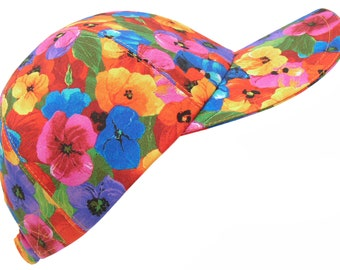 Brighton Blooms - Bright All Over Floral Print Baseball Ball Cap Multi Color Rainbow Flower Ladies Womens Sports Fashion Hat by Calico Caps®