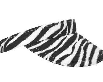 "BACK IN STOCK - ""Seeing Stripes"" - Black and White Zebra Skin Print Sun Golf Visor - Women Men Cool B&W Sport Fashion Hat by Calico Caps®"