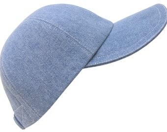Denim Sky - Medium Wash Denim Blue Jean Baseball Ball Cap with white Top-Stitching - 100% Cotton Sports Fashion Hat by Calico Caps®