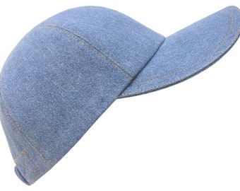 Denim Earth - Medium Wash Denim Blue Jean Baseball Ball Cap Classic Gold Top-Stitching 100% Cotton Sports Fashion Hat by Calico Caps®
