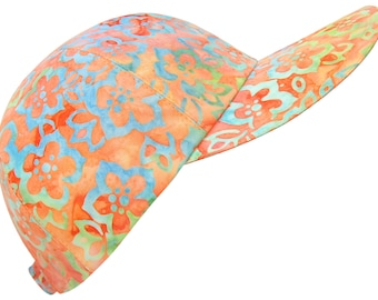 Tropical Punch - Hibiscus Floral Artisan Batik Print Baseball Ball Cap Pastel Orange Turquoise Sky Blue Lemon Lime Mauve Hat by Calico Caps®