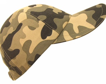 Incognito - Classic Camo Print Baseball Ball Cap Olive Greens Taupe Black Fashionable Modern Camouflage Sports Fashion Hat by Calico Caps®