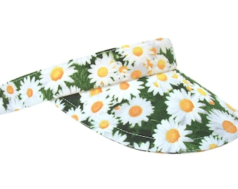 Daisy Chain - Bright White Daisies on a Grassy Green Background All-over Springtime Floral Print SUN Visor Sport Fashion Hat by Calico Caps®