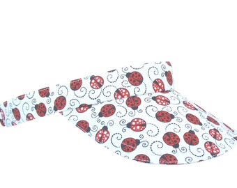 Lucky Ladybug - Black White & Red Allover Lady Bug Print SUN VISOR with Polka Dot Ladybugs - Sports Fashion Lucky Golf Hat by Calico Caps®