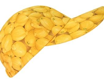 Lemon Zinger - SIZE SMALL - Bright Yellow Lemons Baseball Ball Cap - Ladies Girls Fun Citrus Fruit Summer Party Fashion Hat by Calico Caps®