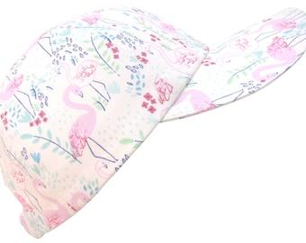 Flamingo Garden - LARGE - Baseball Ball Cap Pastel Pink Blue Mint Green White Tropical Bird Print Beach Fashion Summer Hat by Calico Caps®