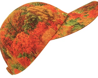 Autumn Calling  All Over Tree Forest Fall Print Baseball Ball Cap Orange Green Gold Leaves Seasonal Cold Weather Fashion Hat by Calico Caps®