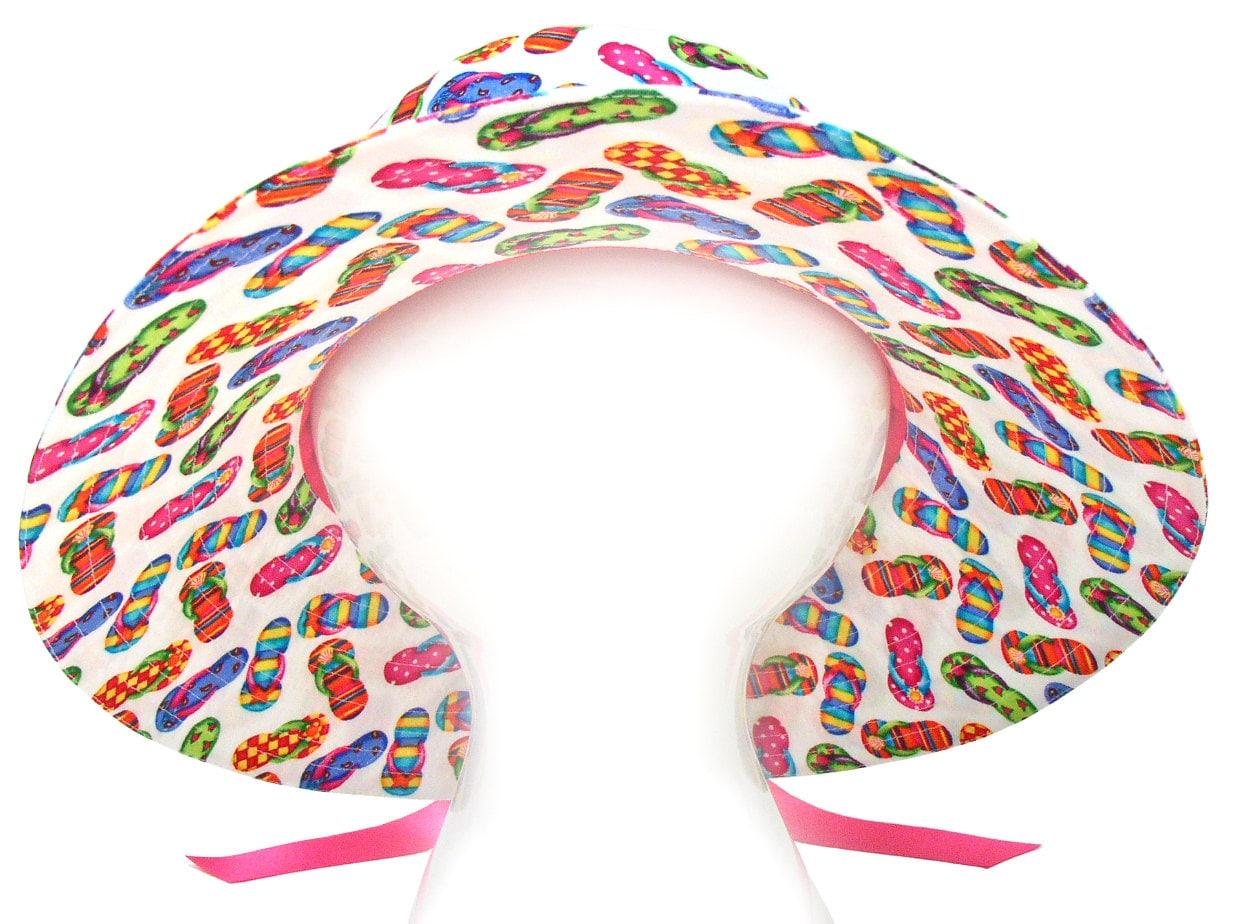 Wheres The Beach - Bright Multi Colored Flip Flops On White Fun Summer Wide Brim Bucket Floppy -6025