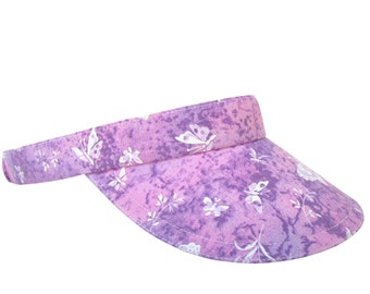 Flutter By - Lavender Wisteria Light Purple Orchid Pastel Butterflies Watercolor Butterfly Print SUN Golf Visor Fashion Hat by Calico Caps®
