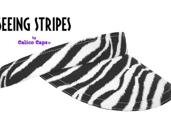 "WHOLESALE LOT - Calico Caps® Zebra Print Sun Visors - 24 ""Seeing Stripes"" Black and White 100% Cotton Women Men B&W Golf Sports Fashion Hats"