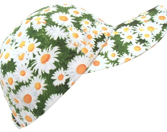 Daisy Chain - SMALL - Bright White Daisies on Green Grass All-over Spring Floral Print Baseball Ball Cap Sports Fashion Hat by Calico Caps®