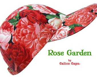 NEW - Rose Garden - Red Coral Pink and Cream Roses and Rosebuds Ladies Womens Cotton Cloth Fashion Baseball Ball Cap Hat by Calico Caps®