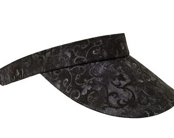 Midnight Scroll - Dark Black & Gray Grey Florentine Print Fabric Ladies Womens Fancy Sport Fashion Sun Visor by Calico Caps®