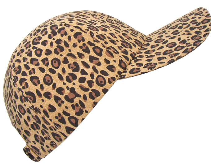 Featured listing image: The Wild Life - OSFM - Classic Leopard Jaguar Animal Skin Print Baseball Ball Cap Brown Tan Taupe Black - Sports Fashion Hat by Calico Caps®