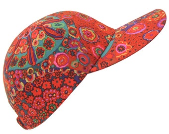 Hot Fiore - Red Millefiore Print Baseball Ball Cap made with Kaffe Fassett fabric Red Indigo Teal Blue Sports Fashion Hat by Calico Caps®