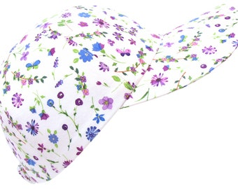 Butterfly Garden - Purple Lavender Green & Bright White with Blue Wildflowers Butterflies Floral Print Baseball Ball Cap Hat by Calico Caps®