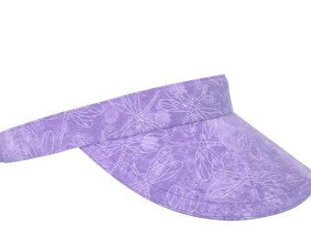Lightness & Joy - Lavender Wisteria Light Purple Violet Dragonflies Watercolor Dragonfly Print SUN Visor Sports Fashion Hat by Calico Caps®