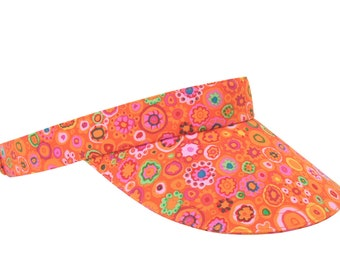 Tangerine Dream - Bright Orange SUN Visor with Hot Pink, Yellow, Green Circles Dots Stars - Golf Tennis Sports Fashion Hat by Calico Caps®