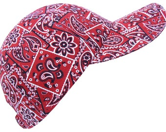 Bandana Blush - SMALL - Red Bandana Paisly Print Baseball Ball Cap Ladies Women Kids 100% Cool Cotton Western Wear Hat by Calico Caps®