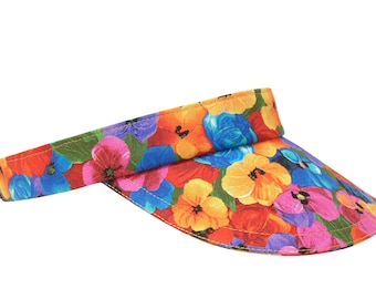 Brighton Blooms - Bright All Over Floral Print SUN Visor - Multi Color Rainbow of Flowers Ladies Womens Sports Fashion Hat by Calico Caps®
