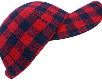 It's A Plaid, Plaid World - Red & Black Buffalo Check Baseball Ball Cap Warm Soft Comfy Cotton Flannel Winter Fashion Hat by Calico Caps®