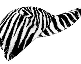 Seeing Stripes - LARGE - Black and White Zebra Print Baseball Ball Cap Peau de Zebre cool cotton B&W animal skin fabric Hat by Calico Caps®