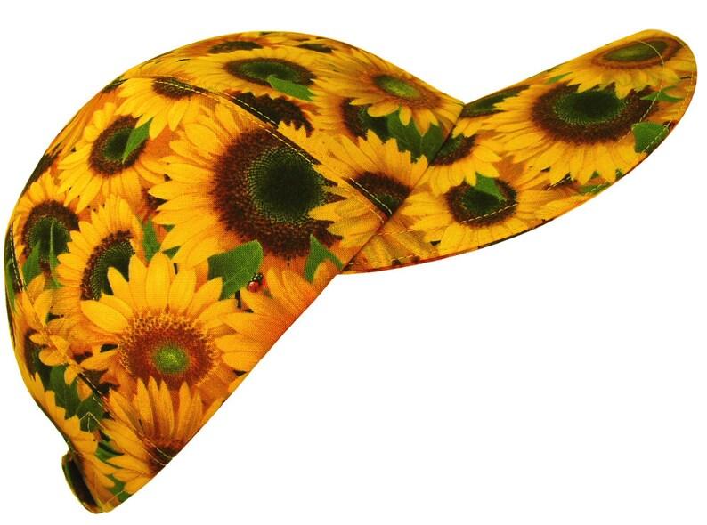 "/""Shine On/"" Yellow Flower Sunflower Red Ladybugs Ladies Womens Floral Sun VISOR"