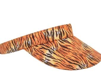 Tiger Vibes - All Over Tiger Skin Animal Print SUN Visor Burnt Orange Amber Golden Tan Cream & Black Cool Sports Fashion Hat by Calico Caps®