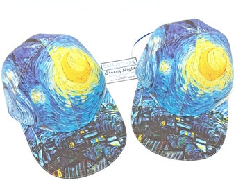 Starry Nights - The Baseball Ball Cap - One Size LARGE Vincent Van Gogh most famous painting artistic Tribute Hat by Calico Caps®