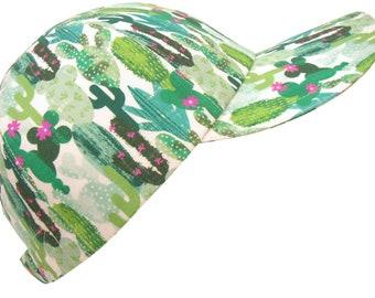 Oasis - Green Cactus Pink Flowers Baseball Ball Cap Ladies Women Mens Southwestern Desert Theme Print  Fashion Sports Hat by Calico Caps®
