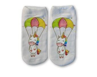 Unicorn Parachute Ankle Socks  |  Men Socks | Women Socks | Patterned Socks | Fun Socks |  Unique Socks | Colorful Socks