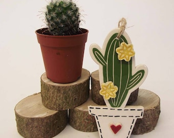 Pottery Cactus Ceramic Hanging decoration Illustrated cactus pottery decoration