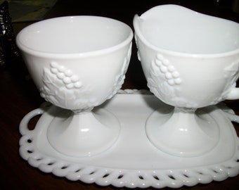 Vintage Milk glass 3 pc set~ sugar, creamer, tray