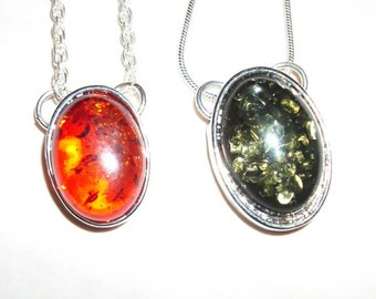Minimal necklace Baltic amber oval pendant Green or Honey   silver plated chain